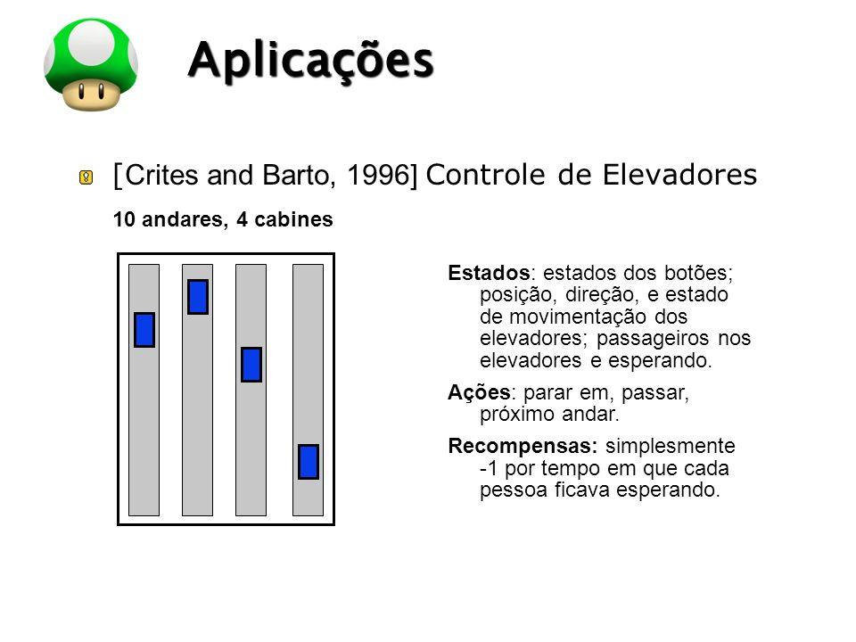 Aplicações [Crites and Barto, 1996] Controle de Elevadores
